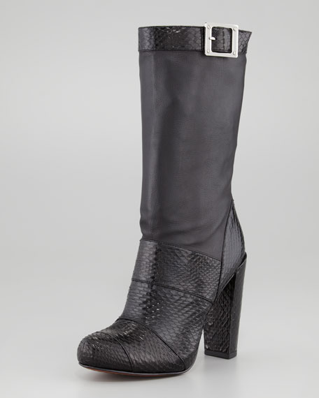 Claudia Leather and Snakeskin Mid-Calf Boot