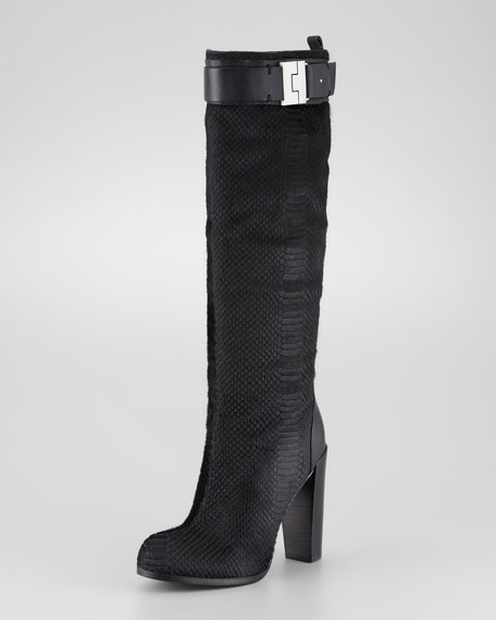 Camille Snake-Textured Calf Hair Boot