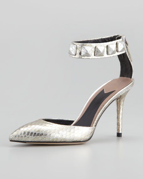 Mercada Snakeskin Studded Ankle-Band Sandal