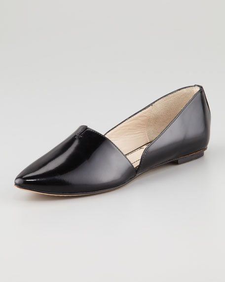 Box Leather d'Orsay Flat, Black