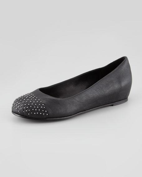 Sprinkle Studded Cap-Toe Ballerina Flat