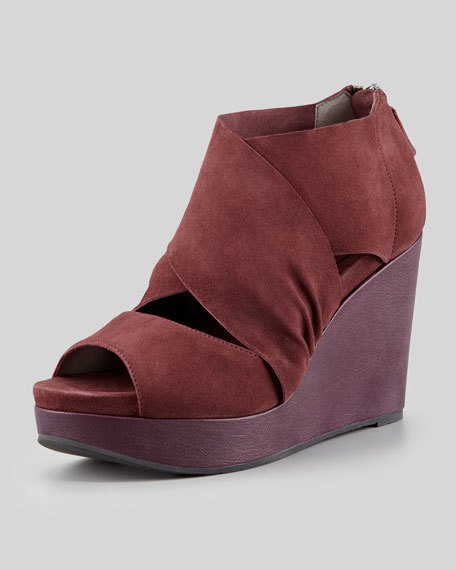 Draw Draped Suede Wedge, Bordeaux