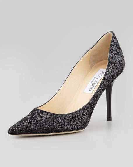 Agnes Glitter Pointed-Toe Pump, Black