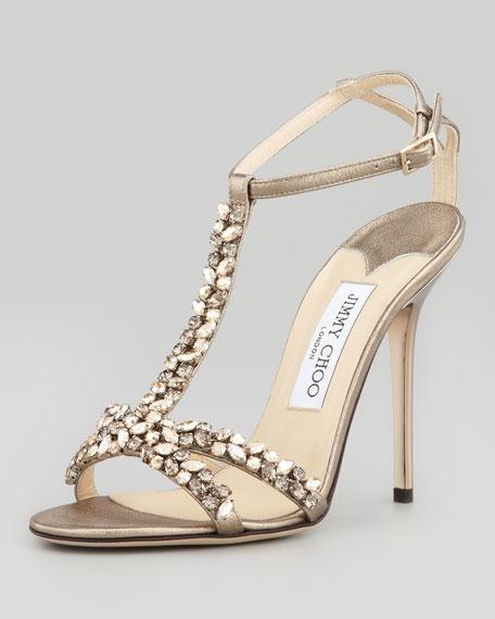 Tayn Crystal T-Strap Sandal
