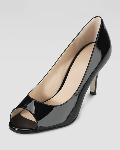 Air Lainey Patent Peep-Toe Pump, Black