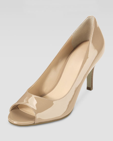 Air Lainey Patent Peep-Toe Pump, Sandstone
