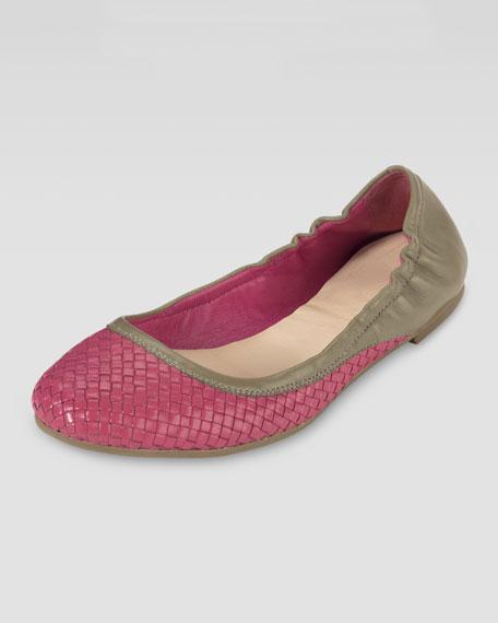 Irwin Woven Ballerina Flat, Pink/Khaki