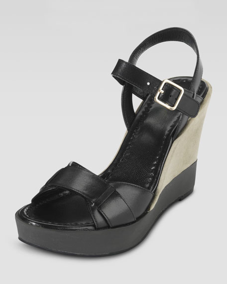 Paley Leather and Suede Wedge, Black/Khaki