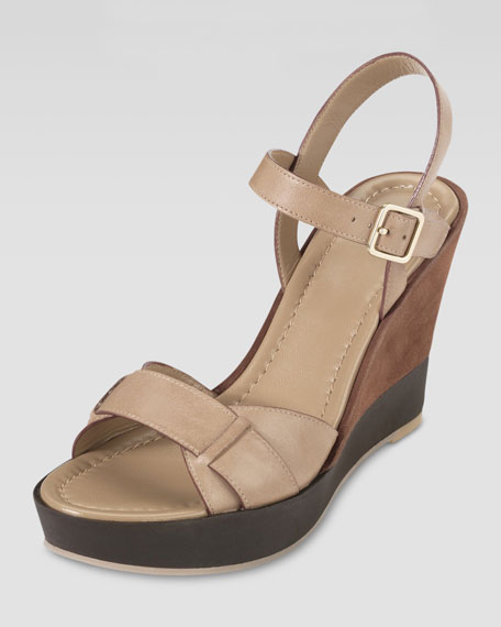Paley Leather and Suede Wedge, Sandstone/Sequoia