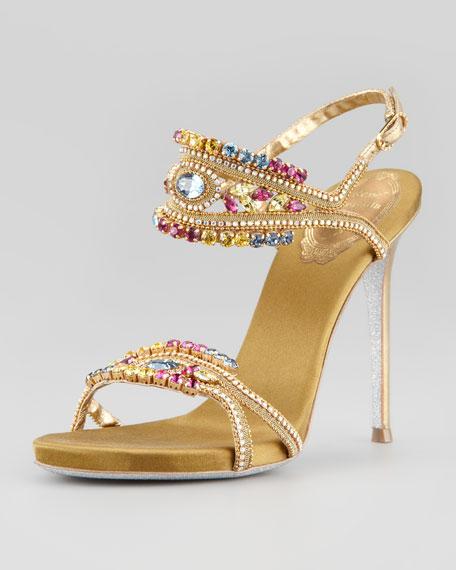 Crystal-Embellished Ankle-Band Sandal