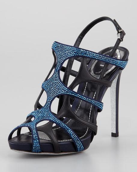Crystal Leather Gladiator Slingback Sandal, Metallic Blue