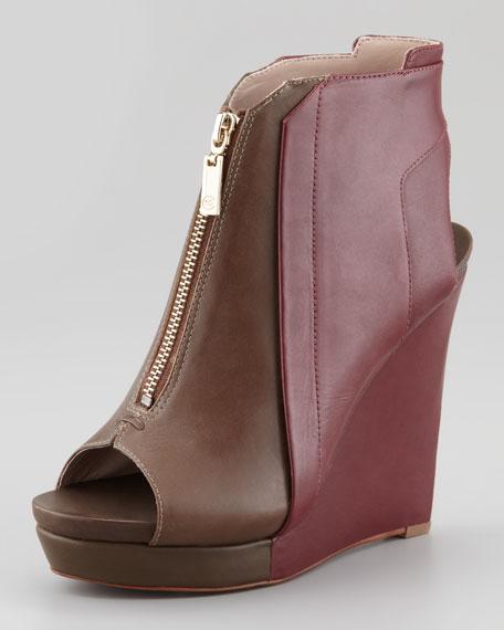 Gen Colorblock Zip-Front Wedge, Brown/Burgundy