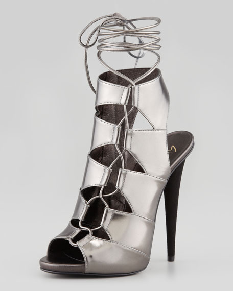 Metallic Side-Lace Ankle-Tie Sandal