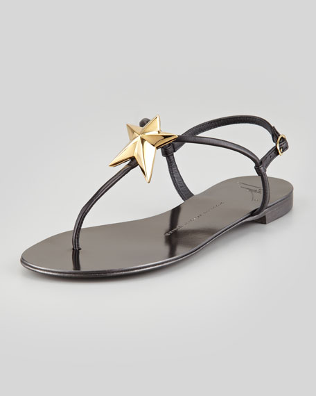 Star Flat Thong Sandal, Black