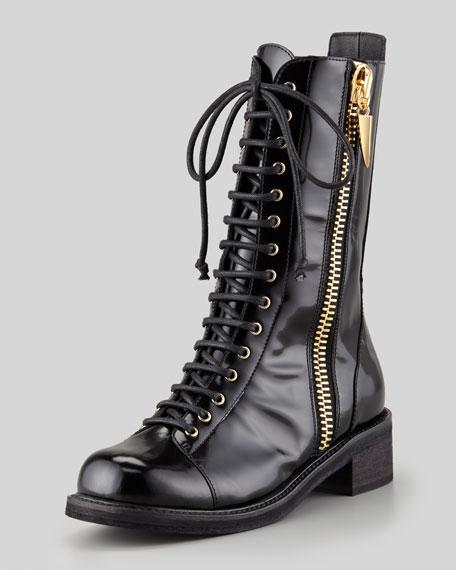 Side-Zip Combat Boot, Black