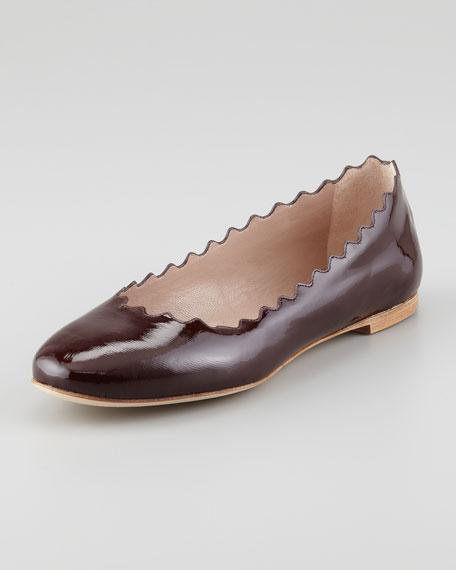 Scalloped Patent Leather Ballerina Flat, Red Grape