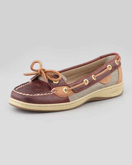 Angelfish Anchor-Embossed Boat Shoe, Cordovan