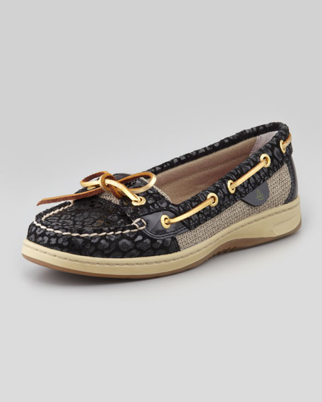 Angelfish Leopard-Embossed Boat Shoe, Black