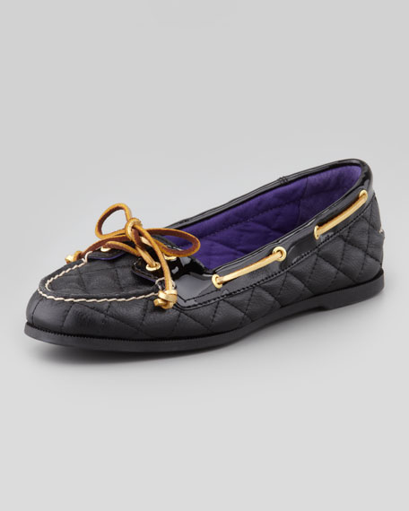 Audrey Quilted Leather Boat Shoe, Black