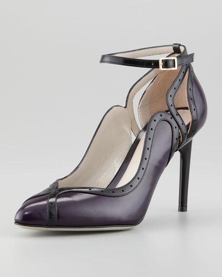 Bi-Color Perforated Trim Ankle-Wrap Sandal