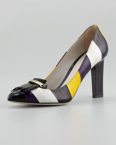 Striped Multicolored Eel-Skin Pump