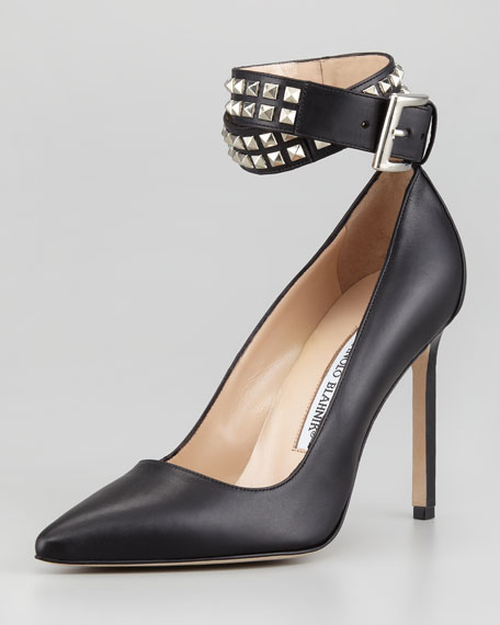 Belta Studded Ankle Wrap Pump