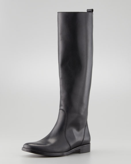 Flat Leather Equestrian Boot, Black
