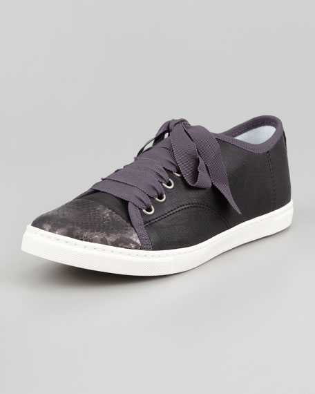 Snake-Cap-Toe Leather Sneaker, Black