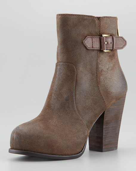 Fine Oiled Leather Back-Zip Bootie
