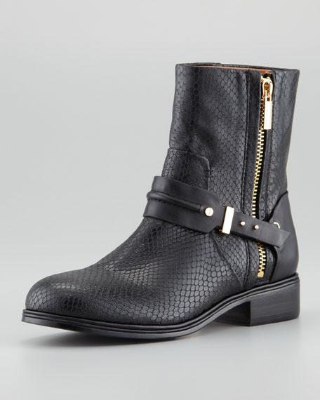 Cruz Python-Embossed Short Moto Boot