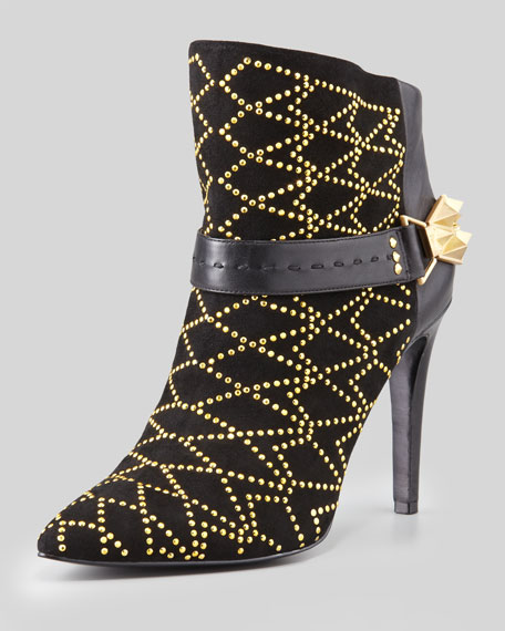 Mila Studded Back-Buckle Bootie
