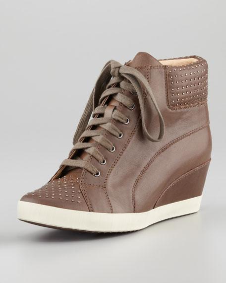 Helsinki Studded Wedge Sneaker, Clay