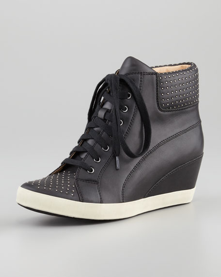 Helsinki Studded Wedge Sneaker, Black