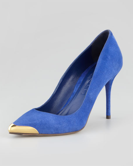 Pointed Metal-Toe Suede Pump, Royal Blue