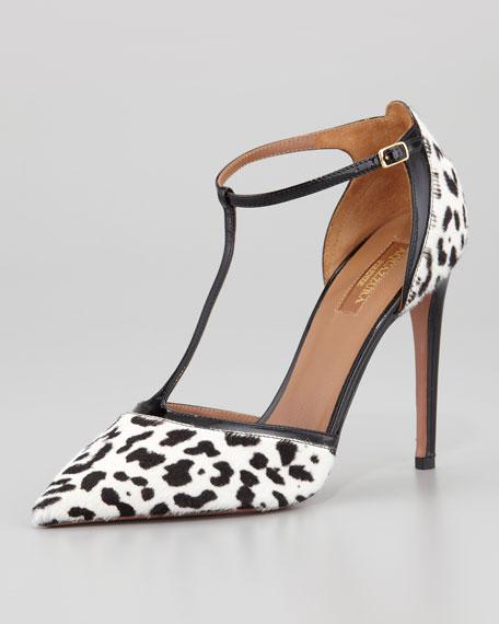Tango T-Strap Spotted Calf Hair Sandal, Black/White