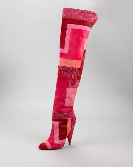 Geometric Patchwork Fur Over-the-Knee Boot, Scarlet