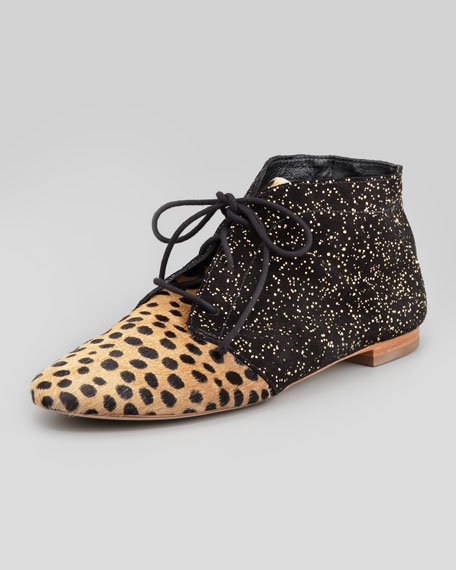 Mamie Mix-Media Lace-Up Bootie