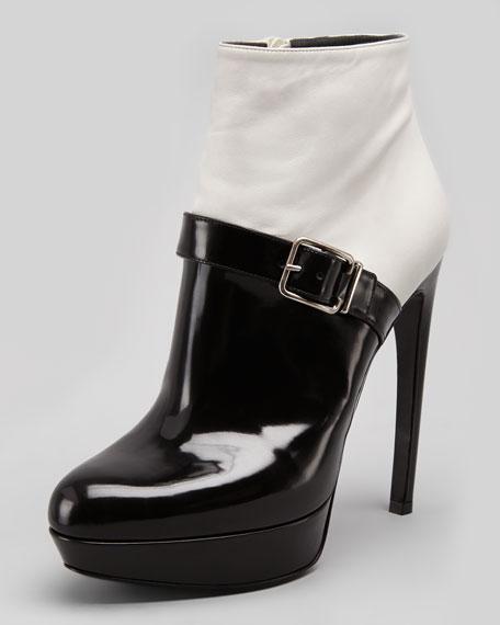 Bicolor Platform Buckle Ankle Boot, White/Black
