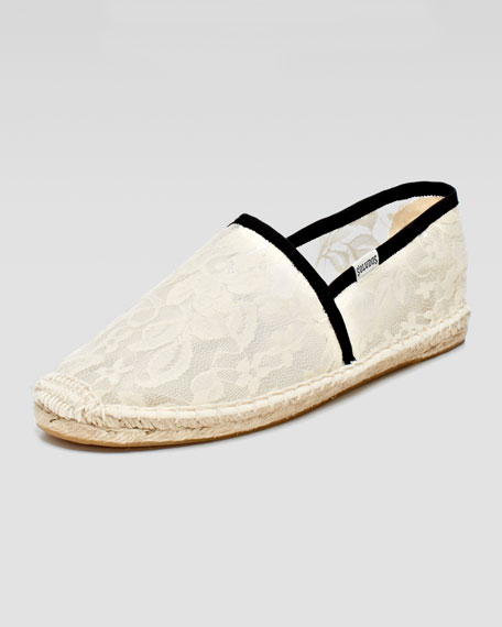Lace Flat Espadrille Loafer, White