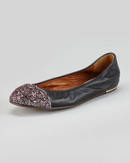 Glitter Cap-Toe Ballerina Flat