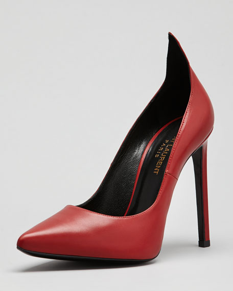 Paris Leather Peak Pointed-Toe Pump, Red