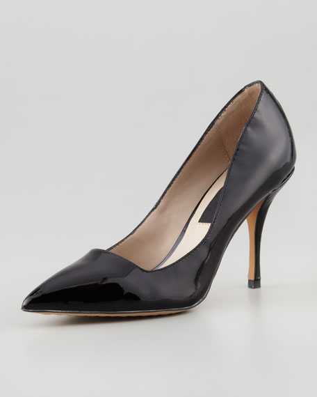 Mikka Patent Point-Toe Pump, Black