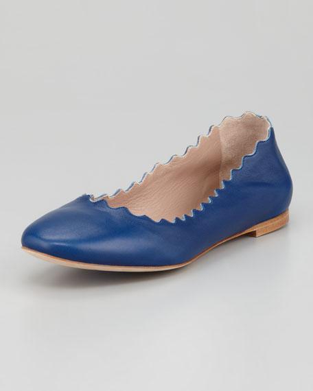 Scalloped Leather Ballerina Flat, Blue
