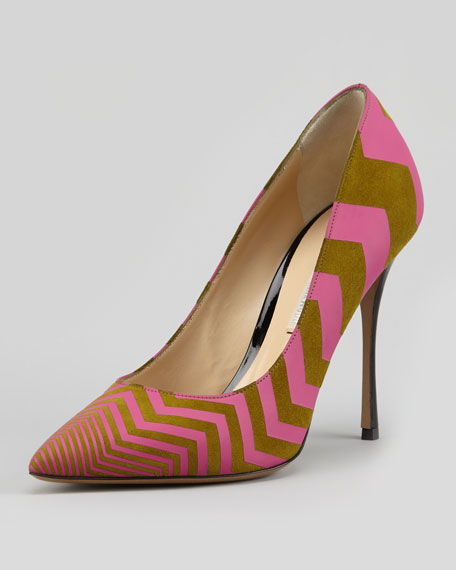 Zigzag-Print Suede Point-Toe Pump