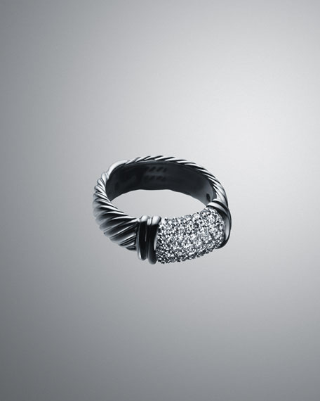 White Pave Metro Cable Ring