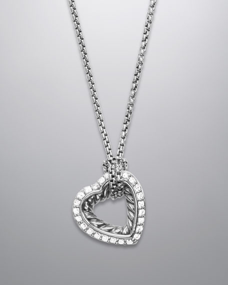 Small Pave Diamond Cable Heart Necklace