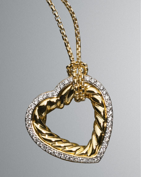 Large Pave Cable Heart Necklace