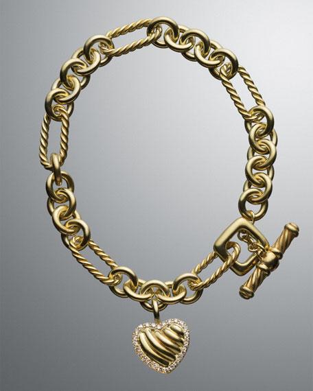 Cable Heart Charm Bracelet