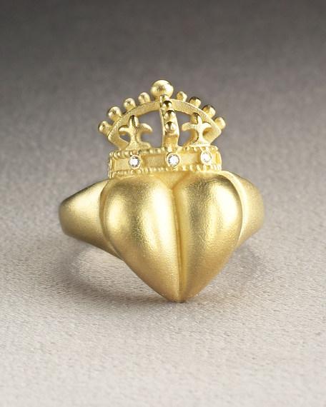 Diamond-Trim Heart Ring