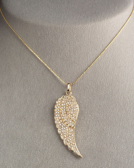 Angel Feather Necklace, Yellow Gold